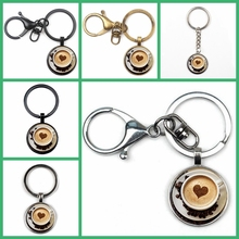 2019 New Fashion Cappuccino Pendant Heart-shaped Coffee Hot Chocolate Art Jewelry Girl Glass Cabochon Key Chain Gifts