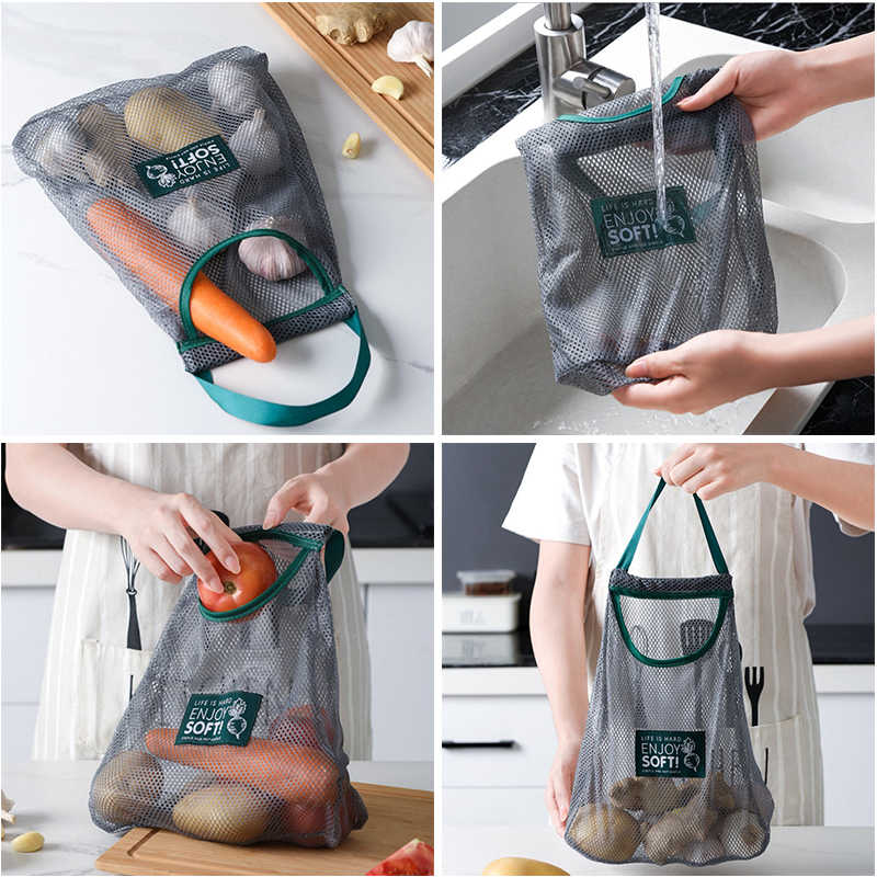 折りたたみ収納ポケット通気性再利用可能なメッシュバッグ折りたたみガーリックオニオン野菜ソートバッグオーガナイザー