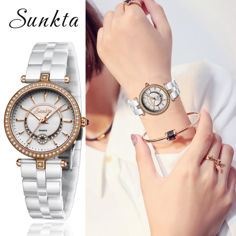 SUNKTA Womens Watches Top Brand Luxury Ceramic Watches Womens Calendar Waterproof Clock Quartz Wristwatch Relogio Feminino+Box