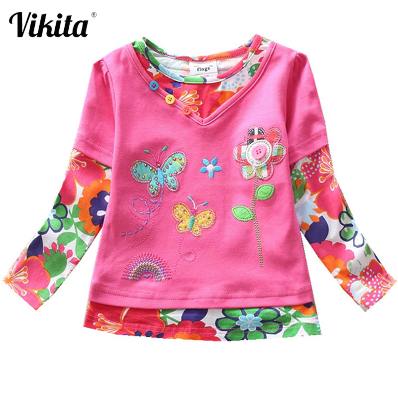 VIKITA Girls Long Sleeve Tops Children t Shirts Kids Flower t-shirt Girls T Shirt Child Clothing Kids Autumn Casual Wear 1