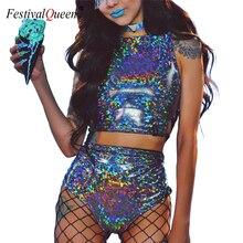 Festivali kraliçe holografik kırpma üst ve sıcak şort kadın 2 parça setleri seksi dantel Up festivali parti Rave giyim iki parça Set