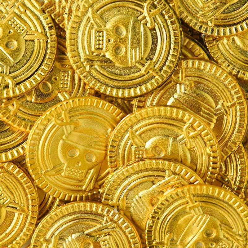 2019 nuevas monedas de plástico de tesoro pirata de 2 piezas, monedas de calavera dorada, regalos de Halloween, artículos para niños, monedas de juguetes de Festival