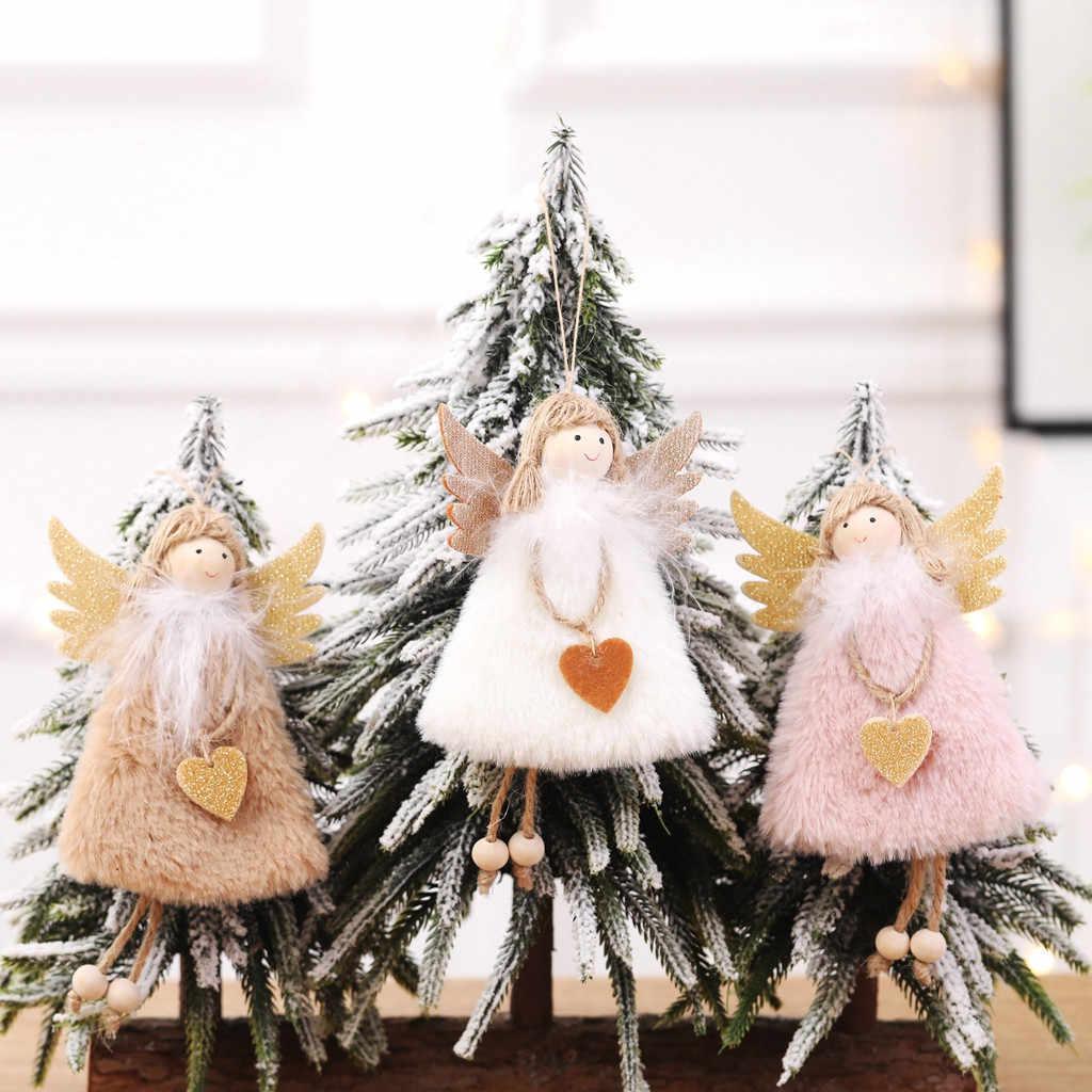 クリスマスかわいい装飾品ピンクホワイトシルク豪華なぶら下げ姿勢人形窓天使の装飾クリスマスツリークリスマス