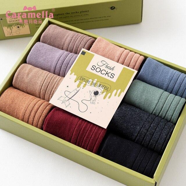 משלוח חינם 12 זוגות\קופסא Caramella גרבי חורף אופנה מוצק צבע נשי ארוך מצרך כותנה כפול מחט גרבי 51612