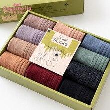 Calcetines largos de algodón con doble aguja para mujer, calcetín de invierno, Caramella, 12 par/bolsa, a la moda, Color sólido, 51612