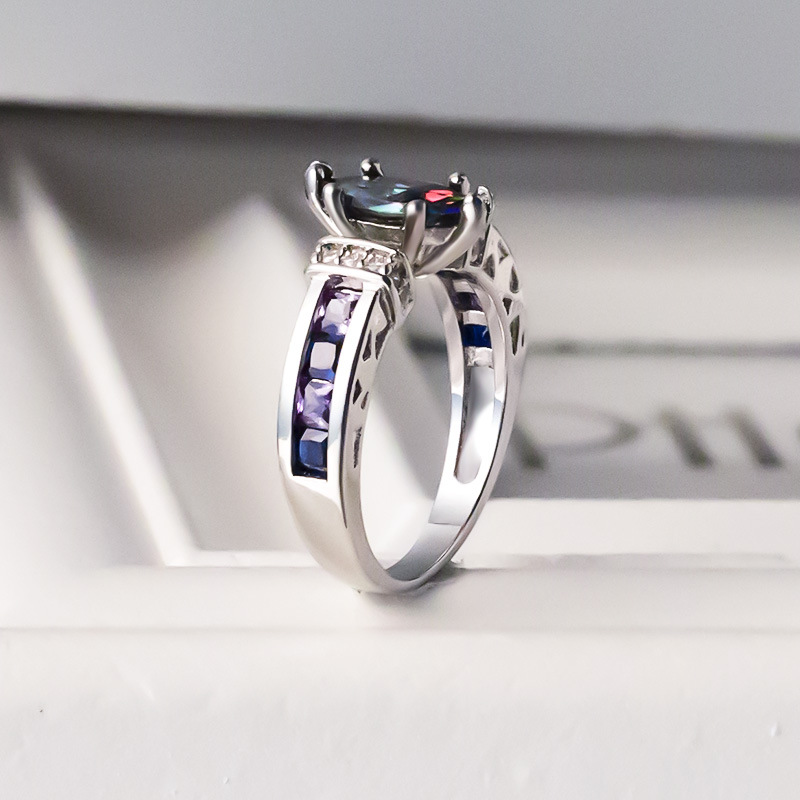 Bague Ringen Silver 925 Ring for Women with oval Rainbow Fire Mystic Topaz Gemstone Silver Jewelry Party Silver Fine Jewely H11552ee18d71424484d5fd88045c51908 ring