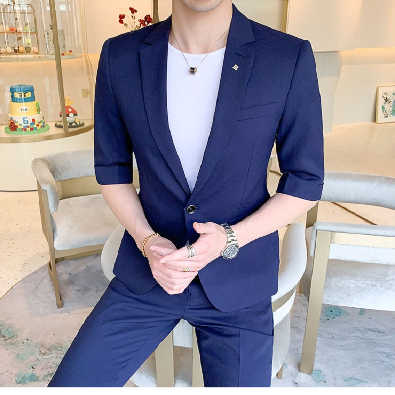 New 2 Pieces Suit Sets Business Casual Blazer+Pants Men Summer Fashion Solid Slim Short-sleeved Jacket Ankle-length Trousers
