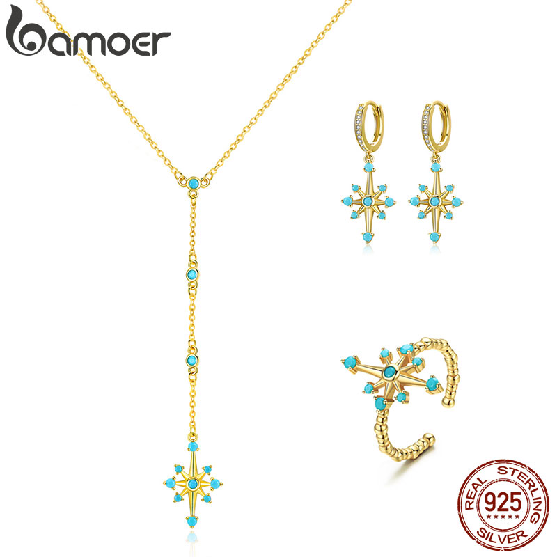 Bamoer Radiant Stars Jewelry Sets For Women Necklace Dangle And Finger Rings For Women 925 Sterling Silver Wedding Bijoux ZHS145