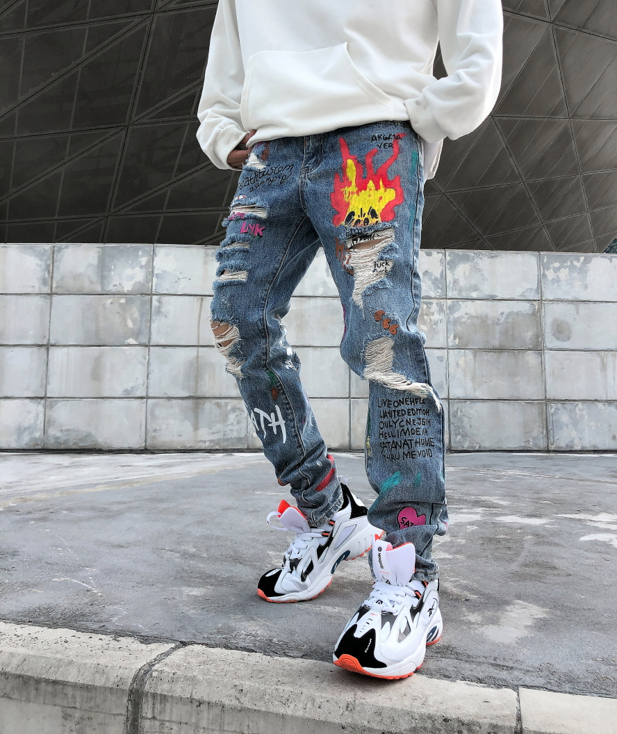 Jeans Homme Men 2019 New Men's Hole Print Letter Spray Flame Straight Slim Pencil Pants Ripped Jeans For Men Vaqueros Hombre