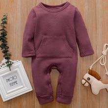 Oeak/детский осенне-зимний комплект одежды для маленьких мальчиков и девочек; однотонные комбинезоны с капюшоном; Детский комбинезон; одежда с длинными рукавами