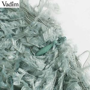 Image 4 - Vadim 여성 세련된 깃털 미니 스커트 tassels 다시 지퍼 스트레칭 슬림 맞는 여성 솔리드 캐주얼 세련된 스커트 mujer ba867