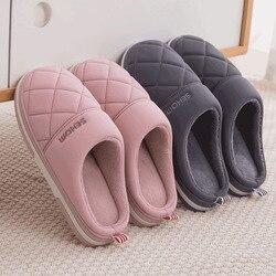 Clássico feminino inverno quente casa chinelos chinelos de pelúcia sapatos de salto plano casa interior quarto zapatilla mujer t109