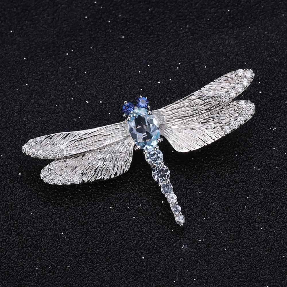 GEM'Sบัลเล่ต์HandmadeออกแบบDragonflyเข็มกลัด 925 เงินสเตอร์ลิง 1.41Ct Sky Topazสีฟ้าเข็มกลัดสำหรับผู้หญิงเครื่องประดับFine