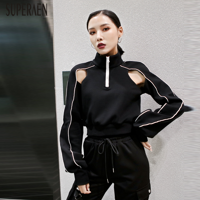 SuperAen Fashion Women Clothing 2020 Spring New Hoody Wild Cotton Sweatshirts Female Stand Collar Solid Color Women Sweatshirts