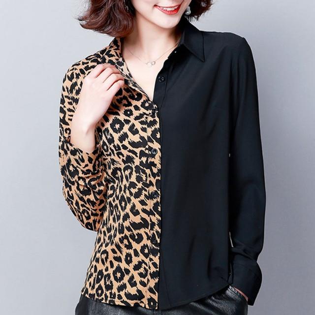 2019 Autumn Fashion Women Shirts Casual Spliced Women Clothing OL Plus Size Long Sleeve Leopard Women Blouses 6014 50 4