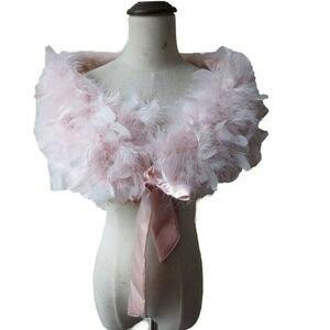 Image 4 - Prawdziwe 100% strusia futro z futra okłady Bolero stałe wesele szal czarny biały kobiety zima różowy Cape chronić ramię S72