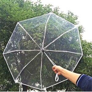 Image 5 - 透明全自動傘メンズレディース屋外折りたたみ高級クリア雨傘黒ピンクビッグ大女の子自動パラソル