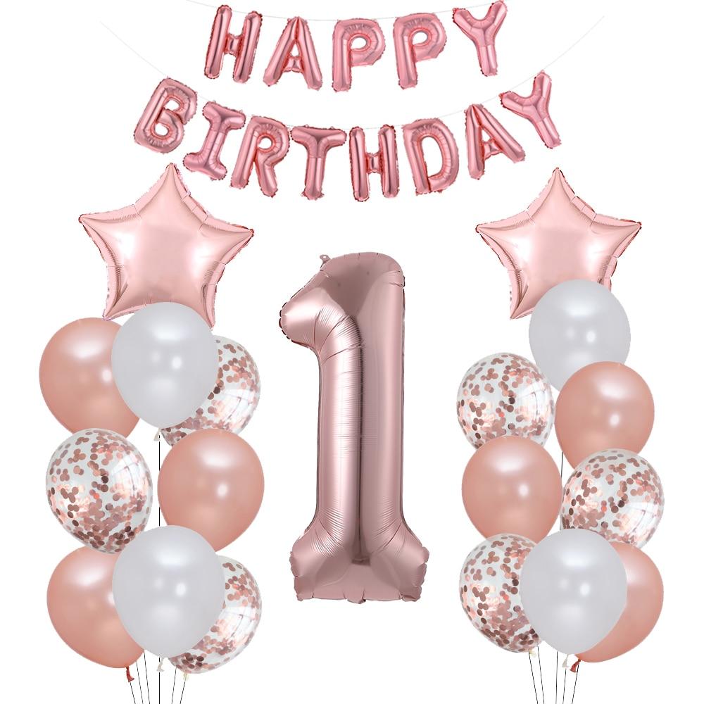 Primeiro feliz aniversário rosa ouro balão meu 1st 1 um ano banner decorações de festa crianças bebê menino menina guirlanda suprimentos balões
