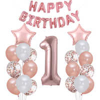 First Happy Birthday Rose Gold Balloon My 1st 1 One Year Banner Party Decorations Kids Baby Boy Girl Garland Supplies Balloons
