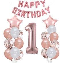 Cartel de primer cumpleaños Globo de oro rosa Niño, guirnalda para decoración de fiesta para niño y niña, suministros de globos