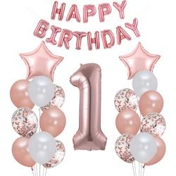 В первую очередь с днем рождения шар цвета розового золота My 1st 1 год баннеры-Декорации для вечеринки детская одежда для маленьких мальчиков ...
