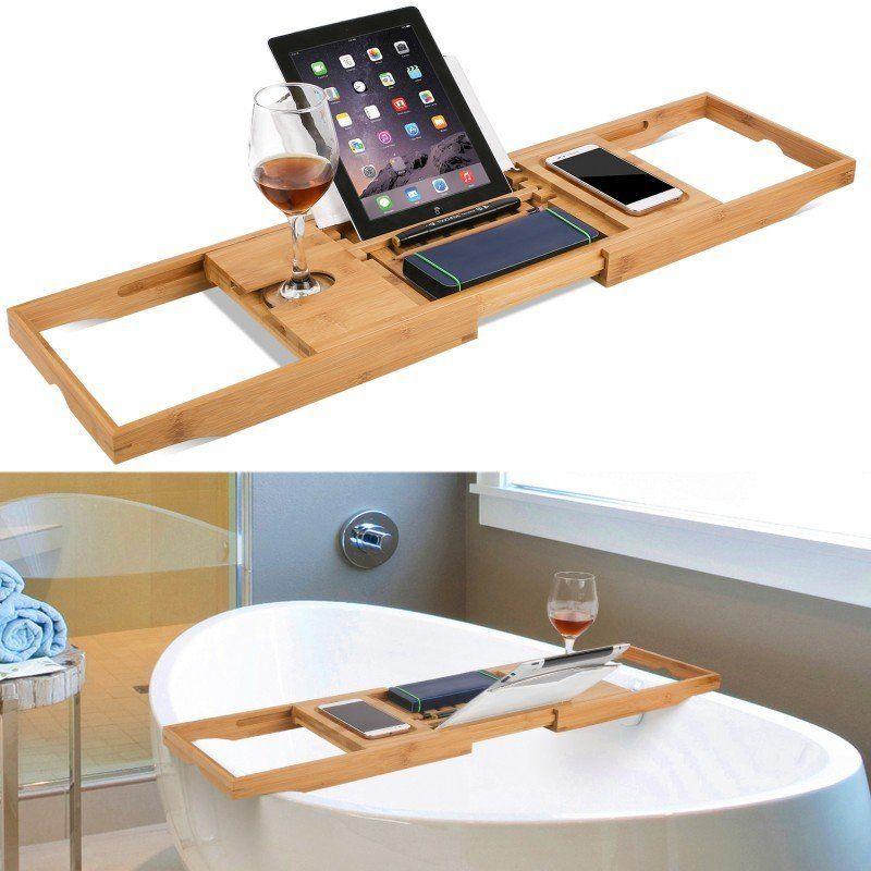 Yeahmart Bamboo Bathtub Tray Adjustable Tray Board Bath Shelf Wine Book Phone Tablet Holder Nonslip Reading Rack For Bathroom