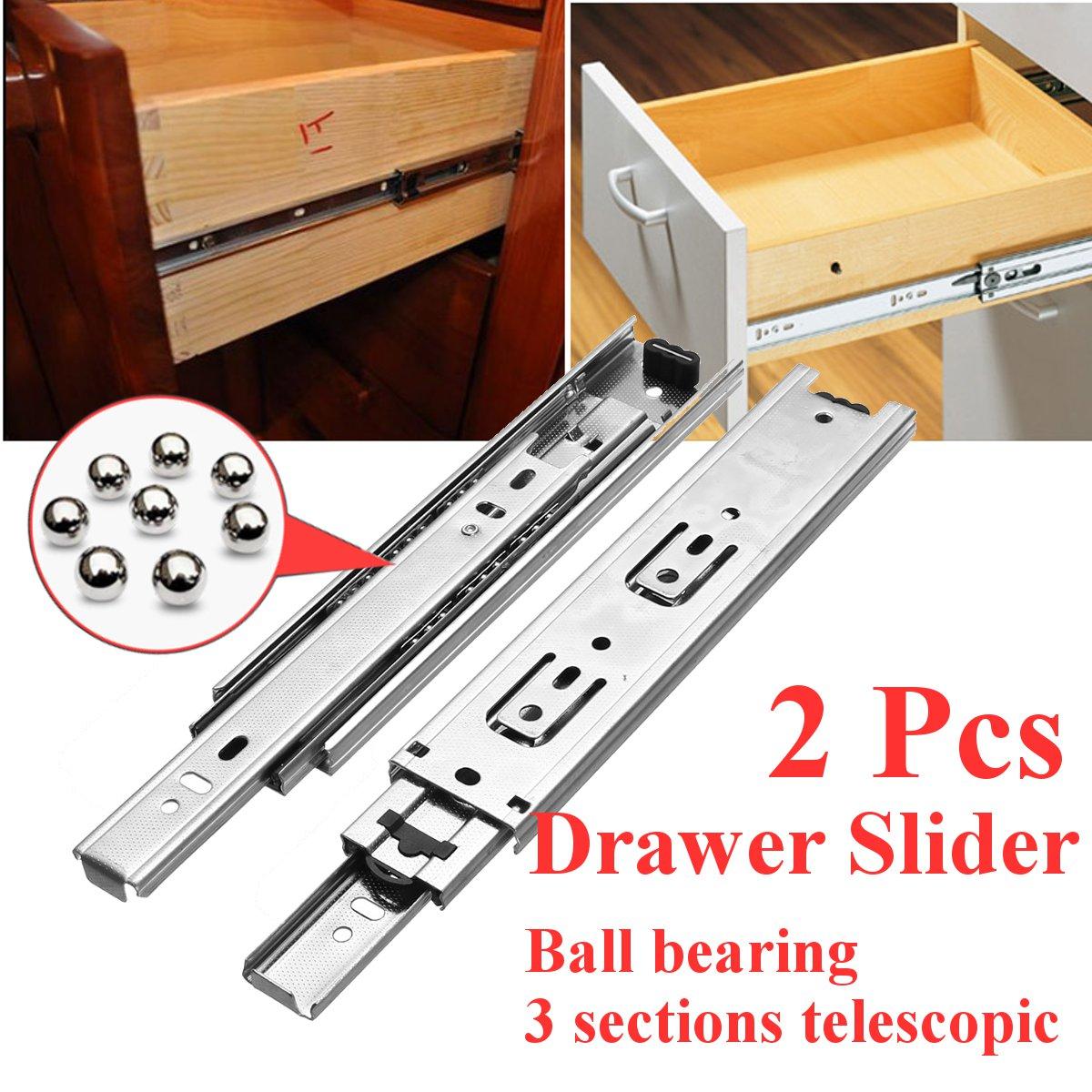 1Pair Drawer Steel Ball Rail Slide Drawer Slide Ball Guide 3 Section Wide Steel Fold Furniture Hardware Fittings