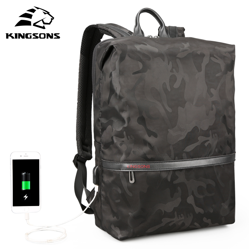 Kingsons Men Backpacks For 15.6 Inches Laptop Backpack Large Capacity Women Shoulder Bags Student Casual Bag Water Repellent