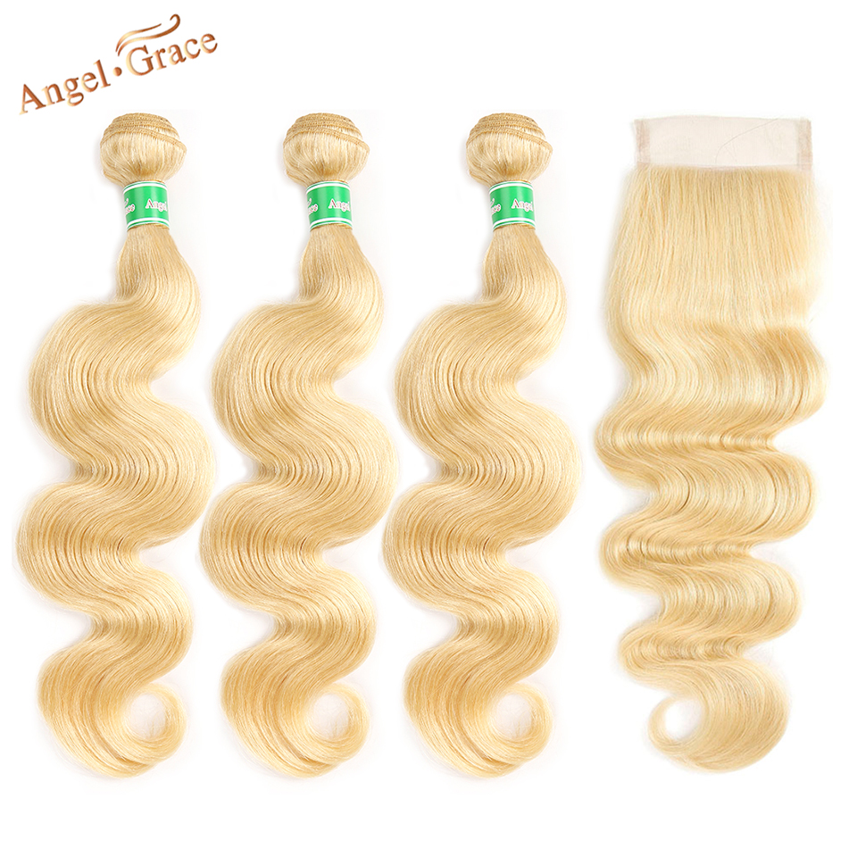 Angel Grace <font><b>613</b></font> Blonde <font><b>Bundles</b></font> With Closure Brazilian <font><b>Body</b></font> <font><b>Wave</b></font> <font><b>3</b></font> <font><b>Bundles</b></font> With Closure Remy Human <font><b>Hair</b></font> Weave <font><b>Bundles</b></font> image