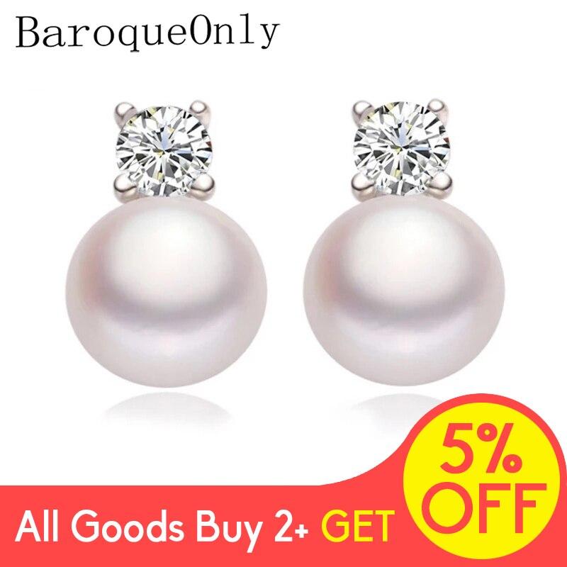 BaroqueOnly Shinny Studs Earrings 925 Silver Earrings Pearl Earrings Fine Jewelry Gifts for Women New White/Pink/Purple/Black