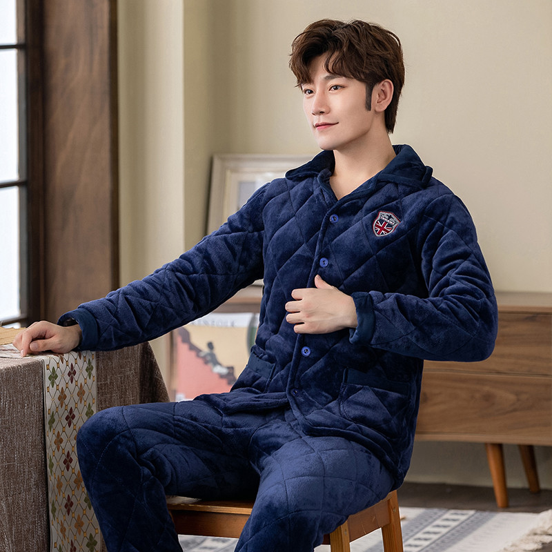 2019 Winter Warm Thick Femal Flannel Sleepwear Suit 2 Pcs Pyjama Homme Warm Casual Home Clothing For Men
