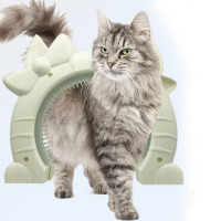 Pet Cat Door With Brush Comb For Cats Gate Door Toys Plastic Scratch Massager Self Grooming Cat Brush Cat toys
