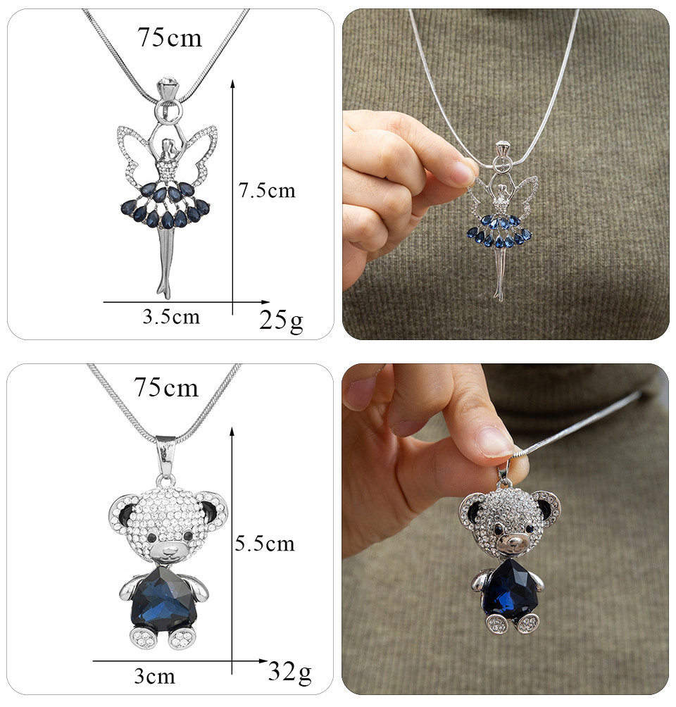 Simple Sweater Coat Necklaces Ladies Girls Long Black Leaf Natural Peacock Feather Crystal Pendant Necklaces for Women Jewelry  (114)