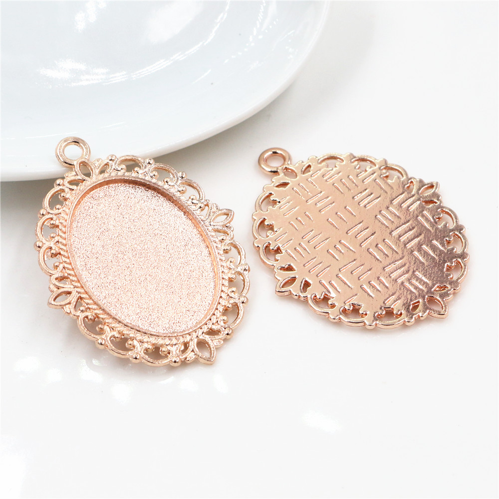 4pcs 18x25mm Inner Size Rose Gold Color Classic Style Cameo Cabochon Base Setting Charms Pendant Necklace Findings  (C1-12)