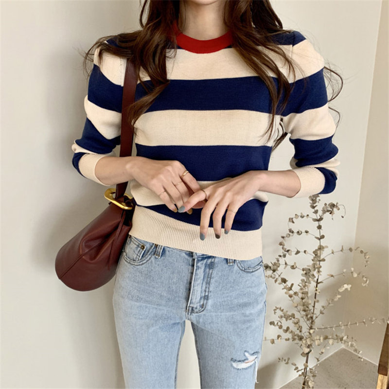 HziriP Striped Color-Hit Jumpers Office Lady 2019 Slimming Soft Warm Full-Sleeved All Match Knitted Brief Chic Basic Sweaters