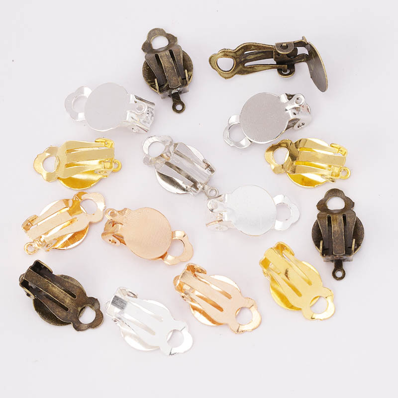 50pcs Gold Silver Plated Iron Ear Clip Earrings Blank/Setting Base Fit 10mm Glass Cabochons Diy Components Findings