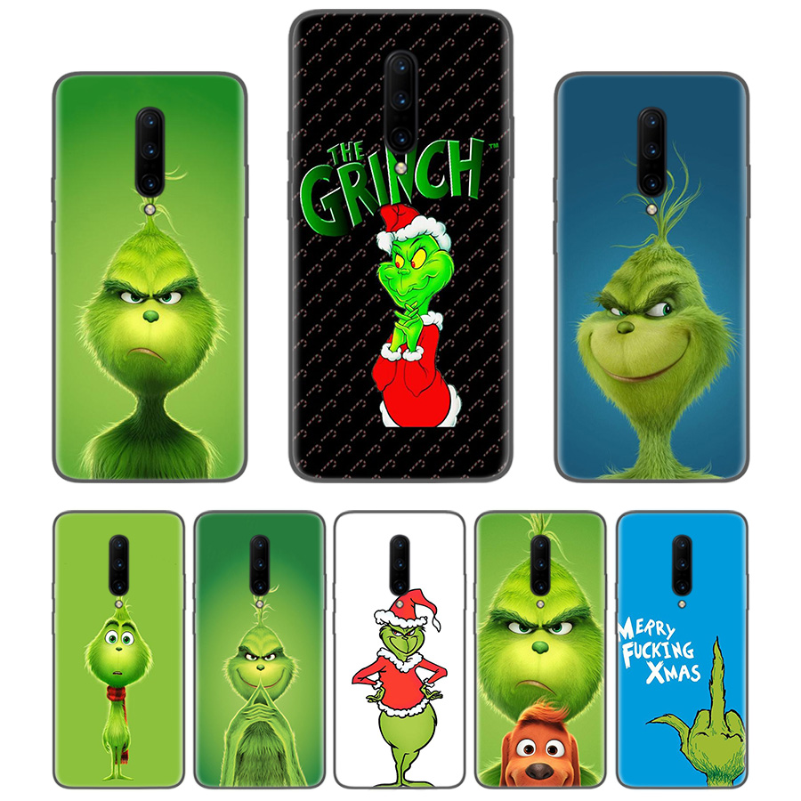 Green Grinch Christmas Black Coque Phone <font><b>Case</b></font> For <font><b>Oneplus</b></font> 1+7 Pro 6 6T 5 5T <font><b>3</b></font> 3T 7Pro Art Gift Pattern Customized Cover Fashion image