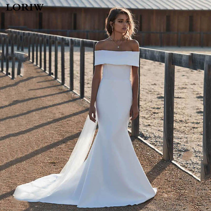 Lorie Mermaid Wedding Dress Satin Off The Shoulder Bridal Dresses Sexy Backless Wedding Gown Vestido De Novia