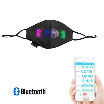 LED Face Mask Halloween Cosplay LED Lighted Animated Text Bluetooth App Controlled Xmas Christmas Party Unisex Rave Mask image