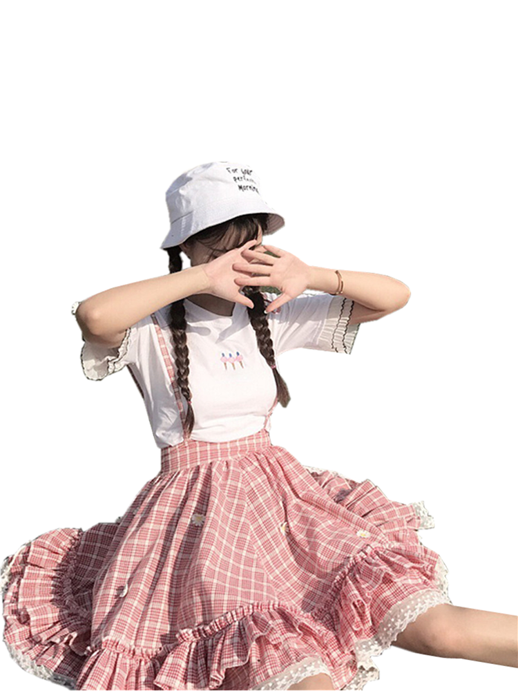 Suspender Skirts Jumpsuit Lace Daisy Appliques Plaid Teenage Ruffle Soft-Girl Japanese