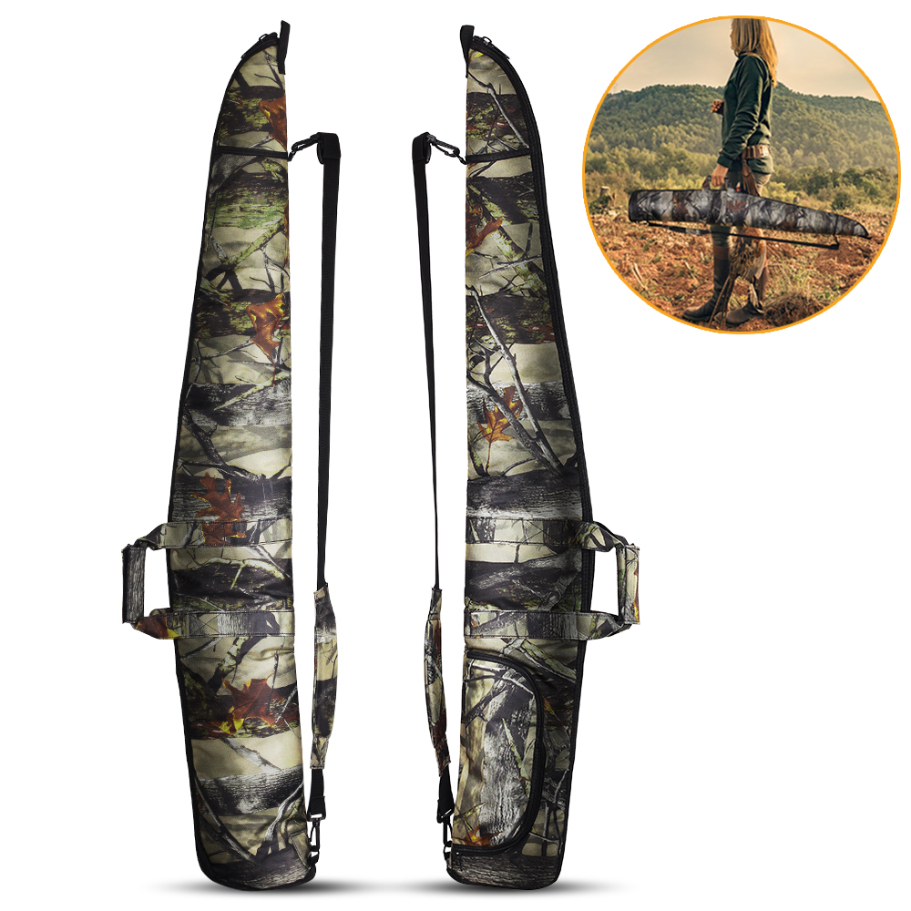 1200D Hunting Rifle Gun Bag 130cm Padded Adjustable Sling Bag Handle Magazine Holder Pouch Single Long Gun Case