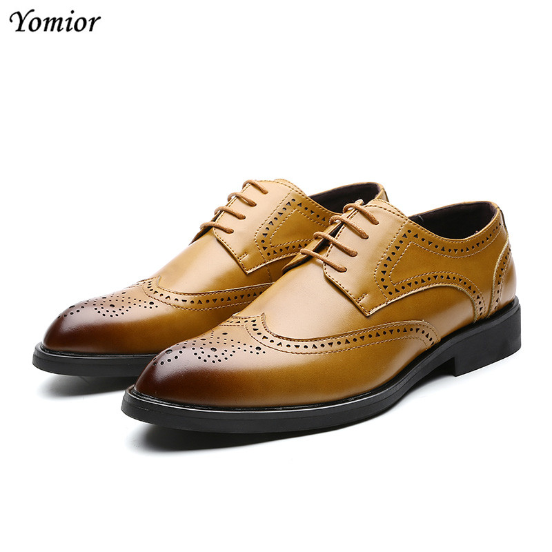 Men Dress Shoes Wedding Oxford Sewing Brogue Business Formal Shoes Fashion New