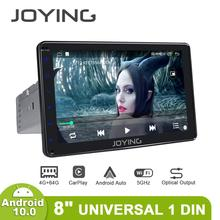 """Joying 8 """"안드로이드 10 자동차 라디오 자동 라디오 싱글 1 Din 헤드 유닛 4GB + 64GB 1280*720 GPS 멀티미디어 플레이어 4G Carplay 5GHz WIFI"""