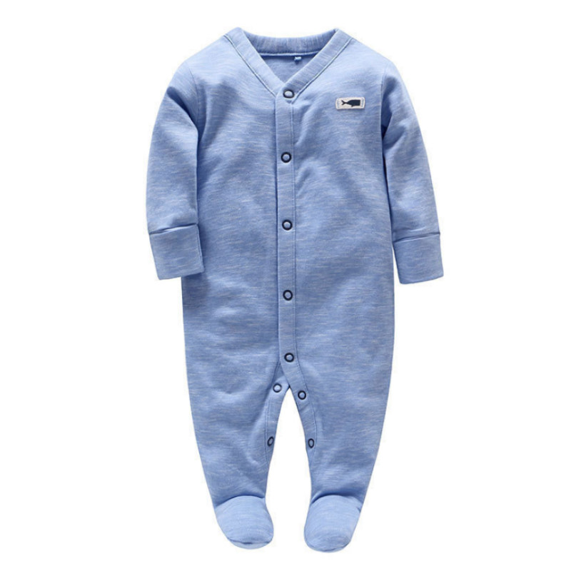 Picturesque Childhood NewBorn Baby Boy Footies Blue Soild Pure Cotton Covered Button O-neck Babygrow Costume