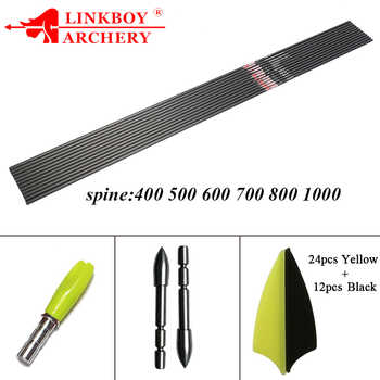 Linkboy Archery 12PCS Carbon Arrow Shafts 30 inch ID4.2mm 1.75\'\' Vanes 80gr Point Pin Nock Compound Recurve Bow Hunting - DISCOUNT ITEM  20% OFF Sports & Entertainment
