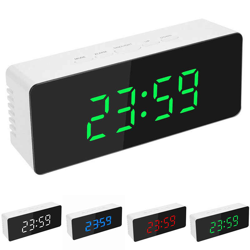 12/24H Format Bedside Mirror LED Clock Alarm Snoring Thermometer Digital Time-temperature Switch Display Day Night Home Supplies