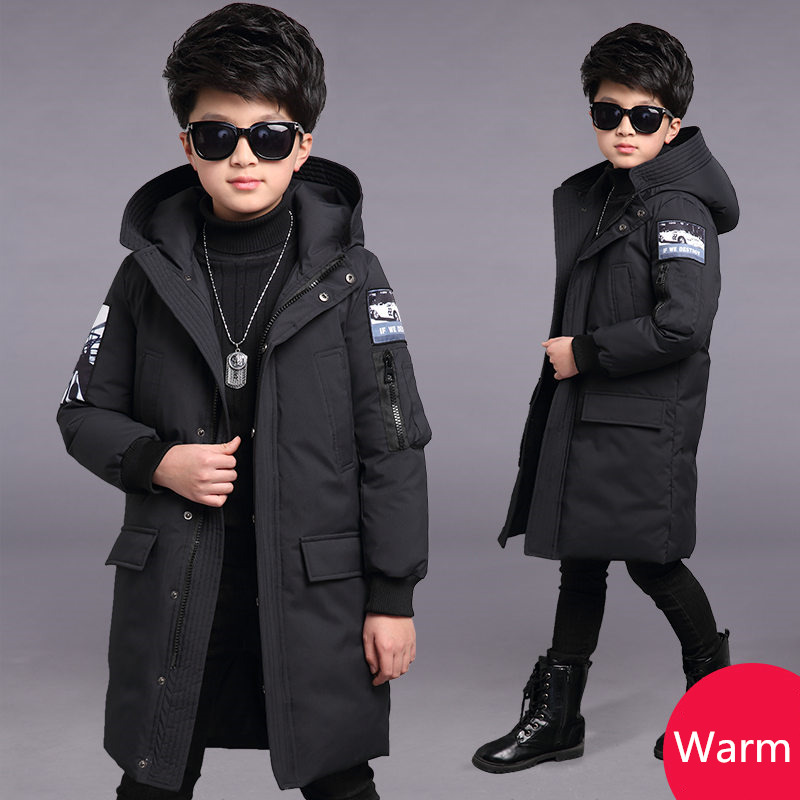 Kids Long Hooded Parka Jacket Winter Coat For Boy Winter Clothing Thick Cotton Winter Jacket for Boy -20 Degrees Teenager Warm Outerwear Age 5 6 7 8 9 10 11 12 13 14 15 Years Old