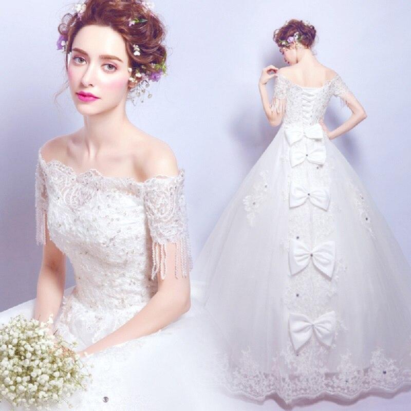 2019 nouveau stock grande taille femmes enceintes robe de mariée robe de bal col bateau blanc dentelle arc perles à lacets robe de mariée sexy 2126