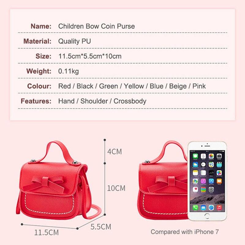 Купить с кэшбэком New Fashion Children's Coin Purse PU Leather Cute Mini Sweet Bow Handbag Lovely Crossbody Shoulder Bag Wallet for Girls
