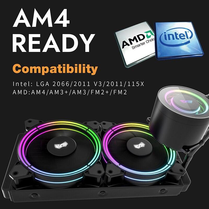 Darkflash obudowa PC chłodzenie cieczą wodną AIO chłodnica grzejnika chłodnica wodna CPU RGB Sync PWM 240mm wentylator chłodzący AM4/AM3 + LGA 115x/2011